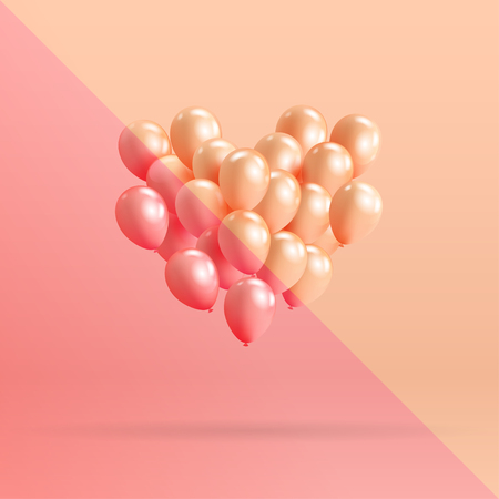 Heart shape made of realistic glossy helium balloons floating on colorful background. Vector 3D balloons for Valentine's day, wedding or promotion banners or posters. Illustration in pastel colors.