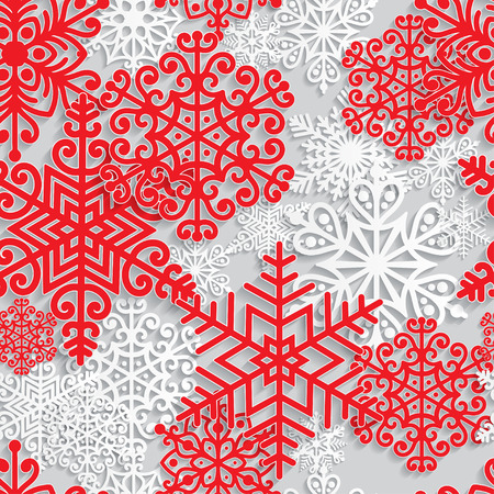 Christmas and New Year seamless pattern with white paper snowflakes. Winter seasonal holidays background. 3D paper art background