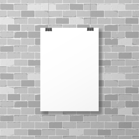 One hanged horizontal paper sheet frame with clips on weathered gray brick wall background. Can be used as mockup Vettoriali