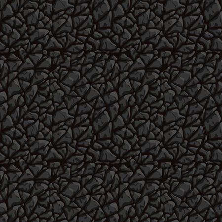 Nahaufnahmevektor nahtlose Textur des schwarzen Leders. Kann als Druck für Stoffe und Grafikdesign verwendet werden. Tierhaut Hintergrund.