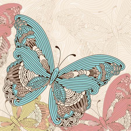 Illustrazione d'epoca di farfalle colorate volanti dettagliate arte zen su sfondo ondulato. Vettoriali