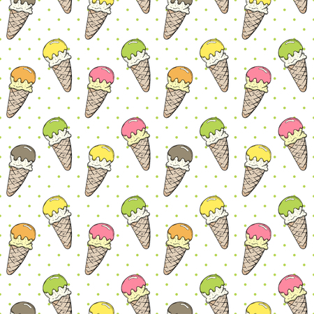 Hand-drawn cartoon ice cream doodles seamless pattern. Colorful detailed, dotted vector background Illustration