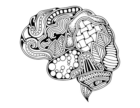 Human brain doodle decorative curves, creative mind, learning and design. Adult anti stress coloring book page