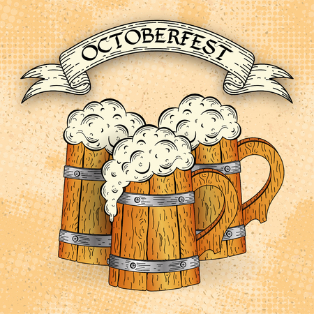 Wooden beer mugs in sketch style on grunge background. Poster template. Octoberfest typographic design. Decoration usable as banner, cards, posters, label, badge. Holiday Vector Illustration
