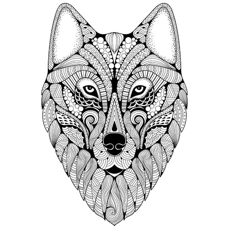 Hand-drawn wolf with ethnic floral doodle pattern. Coloring page - zendoodle stylize of dire wolf for relaxation and meditation for adults, vector illustration, isolated on a white background.