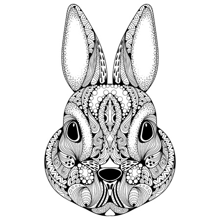 Hand drawn graphic ornate head of rabbit with ethnic floral doodle pattern.Vector illustration for coloring book, tattoo, print on t-shirt, bag. Isolated on a white background. Illustration