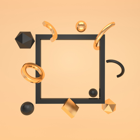Abstract 3d rernder illustration with empty frame and primitive geometric shapes, spheres, rings and other. Pastel colored mock up background