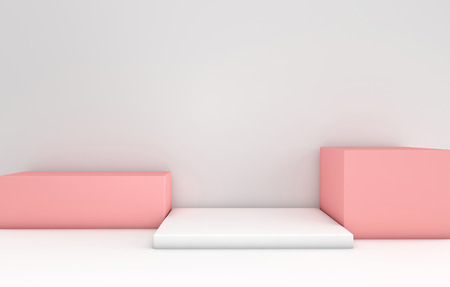 3d rendered white and pink podium in white room. Abstract geometric shapes, minimalistic empty showcase. Pastel color platforms for product presentation
