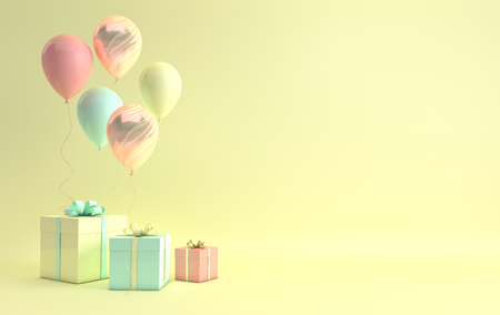 3d render illustration of realistic yellow, turquoise and marble balloons and gift box with bow on yelow background. Empty space for party, promotion social media banners, posters.