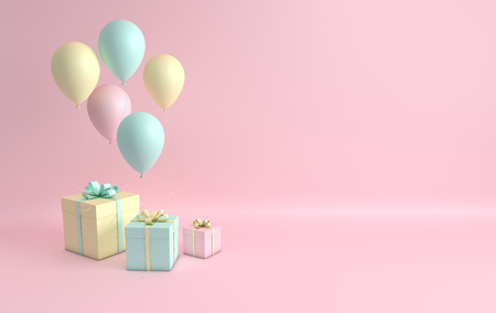 3d render illustration of realistic pink, turquoise and yellow balloons and gift box with bow on pink background. Empty space for party, promotion social media banners, posters. Standard-Bild