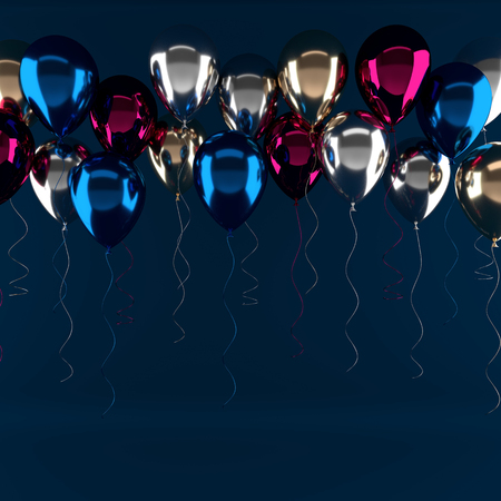 Illustration of glossy red, blue and gold pearl metallic balloons on blue background. Empty space for birthday, party, promotion social media banners, posters. 3d render realistic balloons