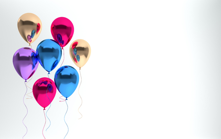 Illustration of glossy red, blue and gold pearl metallic balloons on white background. Empty space for birthday, party, promotion social media banners, posters. 3d render realistic balloons