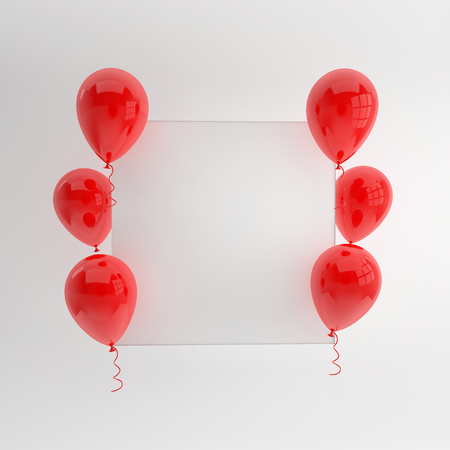 Illustration of glossy red balloons and white paper on white background. Empty space for birthday, party, promotion social media banners, posters. 3d render realistic balloons