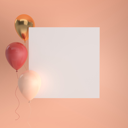 Illustration of glossy red, beige and gold balloons and white empty paper on pastel colored background. Empty space for birthday, party, promotion social media banners, posters. 3d render realistic balloons