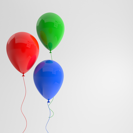 Illustration of glossy red, green, blue balloons on white background. Empty space for birthday, party, promotion social media banners, posters. 3d render realistic balloons