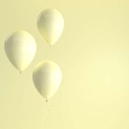 Illustration of glossy yellow balloons on yellow background. Empty space for birthday, party, promotion social media banners, posters. 3d render realistic balloons