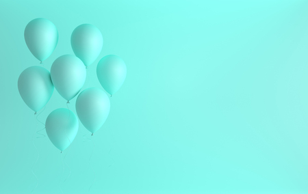 Illustration of mat turquoise balloons on pastel colored background. Empty space for birthday, party, promotion social media banners, posters. 3d render realistic balloons