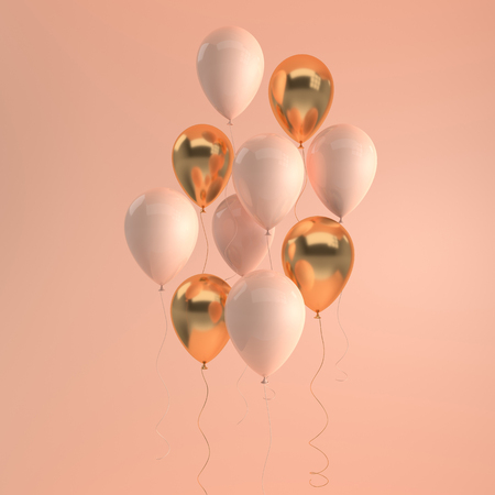 Illustration of glossy beige and gold balloons on pastel colored background. Empty space for birthday, party, promotion social media banners, posters. 3d render realistic balloons