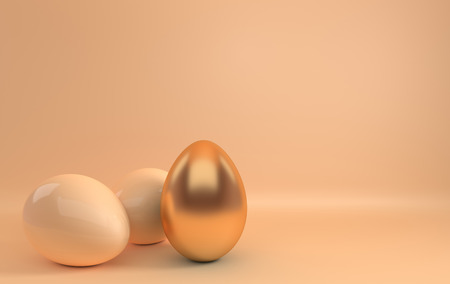 Pastel beige and glossy golden easter eggs on beige background. 3d render, digitally generated template. Happy Easter big hunt or sale banner