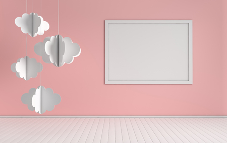 Interior of nursery with mock up photo frame and paper clouds decoration. White and pink colors. 3d render. Cosy childroom with empty poster mockup for text or photo Stock Photo