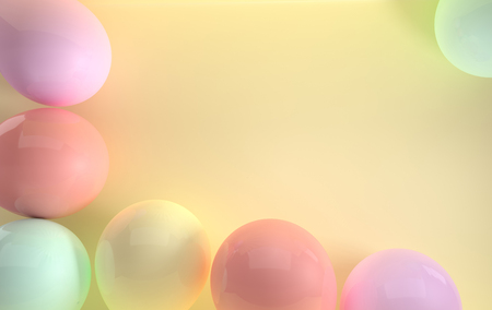 3d render illustration of realistic glossy pink, yellow, purple balloons on pastel yellow background. Empty space for birthday, party, promotion social media banners, posters. Stok Fotoğraf