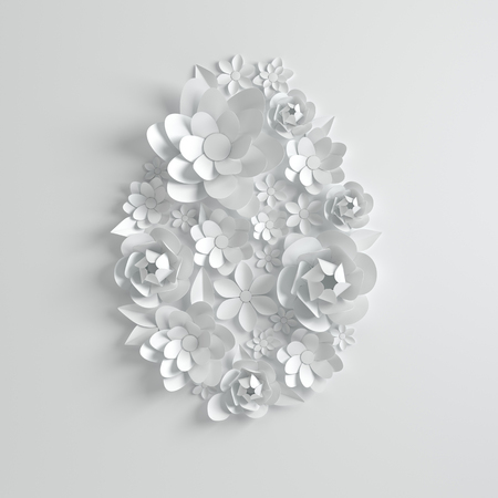 Paper flowers and leaves, easter egg shape. 3d render in white color, modern paper art style spring background. Happy easter greeting card template.