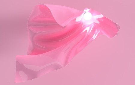 Luxury soft textile fabric in motion with luminous sphere 3d render. Pink glossy waves. Abstract modern design element, minimalistic background Banco de Imagens