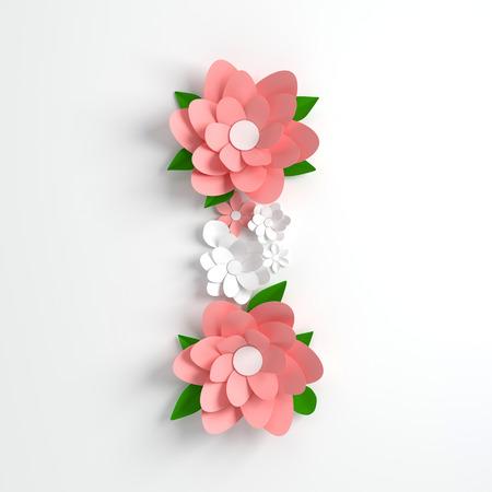 Paper flower alphabet letter I 3d render. Pastel colored flowers in modern paper art origami style. Flat lay digital illustration. Isolated on white Banco de Imagens