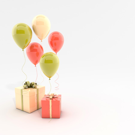 3d render illustration of realistic colorful balloons and gift box with bow on white background. Empty space for party, promotion social media banners, posters. Stok Fotoğraf