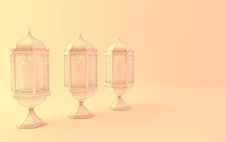 White lantern with candle in yellow light,lamp with arabic decoration. Concept for islamic celebration day ramadan kareem or eid al fitr adha. 3d rendering illustration