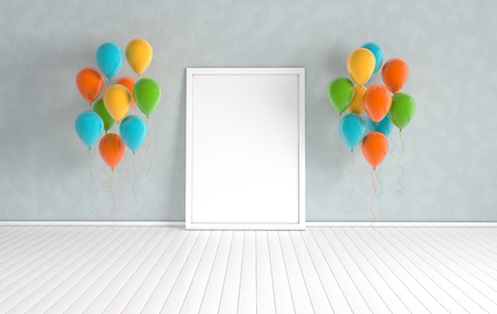 3d render interior with realistic colorful balloons, mock up poster in the room. Empty space for party, promotion social media banners, posters. Reklamní fotografie