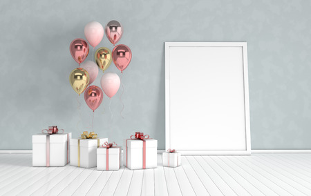 3d render interior with realistic gold and pink balloons, gift box with ribbon mock up poster in the room. Empty space for party, promotion social media banners, posters. Stok Fotoğraf