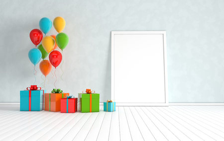 3d render interior with realistic colorful balloons, gift box with ribbon mock up poster in the room. Empty space for party, promotion social media banners, posters.