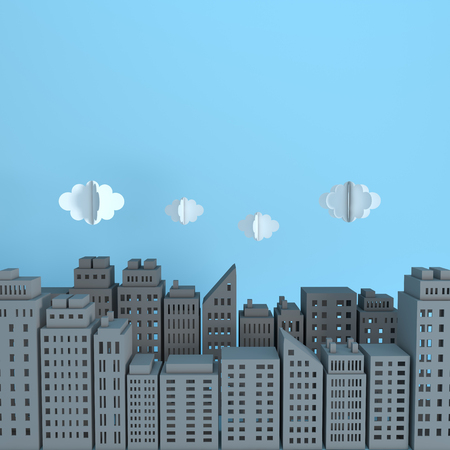 Grey paper skyscrapers and clouds. Achitectural building in panoramic view. Modern city skyline building industrial paper art landscape skyscraper offices. 3d rendering illustration Stock Photo
