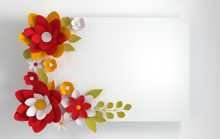 Colorful paper flowers on white background. Valentines day, Easter, Mothers day, wedding greeting card. 3d render digital spring or summer flowers  illustration in paper art style.