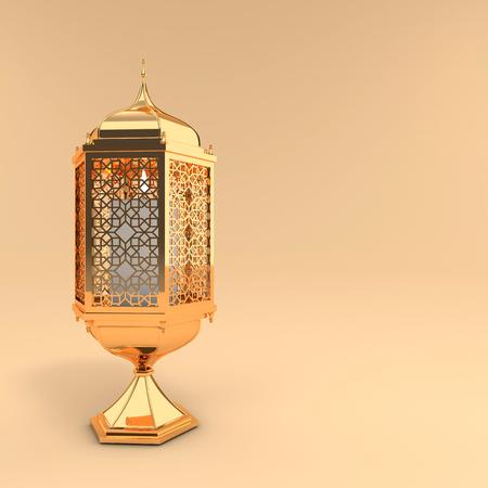 Golden lantern with candle, lamp with arabic decoration, arabesque design. Concept for islamic celebration day ramadan kareem or eid al fitr adha. 3d rendering illustration Reklamní fotografie