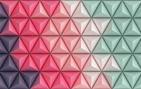 3d render background in pastel colors. Paper pyramid geometric abstract illustration