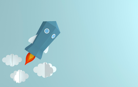 Paper art of space shuttle launch to the sky. Blue sky, fluffy clouds. Rocket launch. Start up business concept and exploration idea. Science inspiration in paper art style Reklamní fotografie