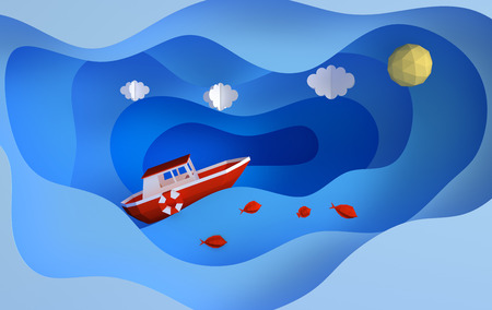 Paper red boat sailing in the ocean or sea, clouds, sunn, fish, travel concept. Blue sea waves layers. Modern paper art style 3d render Banco de Imagens