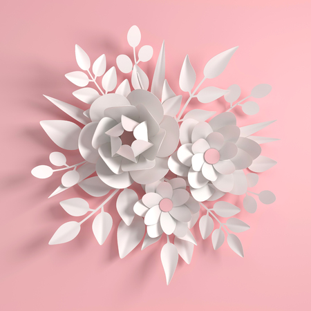 Paper colorful flowers background. Valentines day, Mothers Day, wedding greeting card. 3d render digital spring or summer flower pattern, illustration in paper art style. Stock Photo