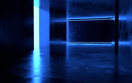 Futuristic sci-fi concrete room with glowing neon. Virtual reality portal, computer video games, vibrant colors, laser energy source. Blue neon lights
