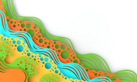 Abstract paper art sea or ocean water waves. Summer background in vivid colors. Paper sea waves with lines and bubbles. Paper cut style 3d render