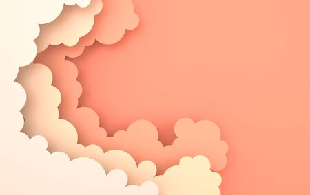 Paper art colorful fluffy clouds background with place for text. Modern 3d render origami paper art style. Pastel colored paper sky Reklamní fotografie