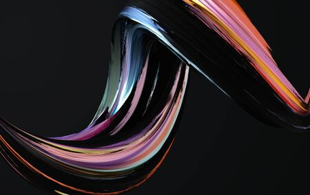 Colorfull dynamic abstract twisted shape. 3d render vawe, spiral. Computer generated geometric illustration