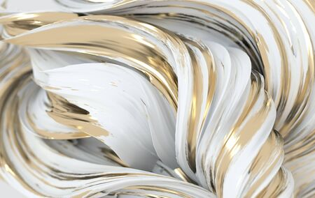 White and golden dynamic abstract twisted shape. 3d render wave, spiral. Computer generated geometric illustration Stock Photo