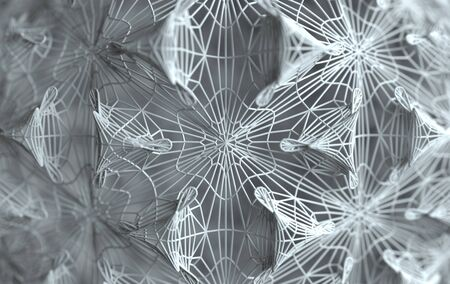 Abstract lines structure. Detailed geometrical ornament. Fantasy fractal texture. 3d rendering 写真素材