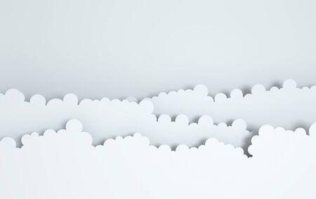 Paper art fluffy clouds. Modern 3d origami paper art style. 3d render illustration