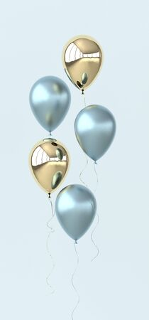 Illustration of glossy colorful and golden balloons on pastel colored background. Empty space for birthday, party, promotion social media banners, posters. 3d render realistic balloons