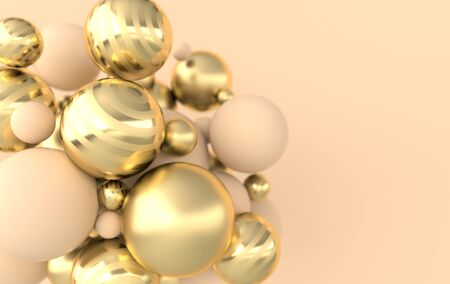 Colorful balls 3d rendering. Chaotic spheres geometric abstract background, primitive shapes, minimalistic design, beige and golden colors