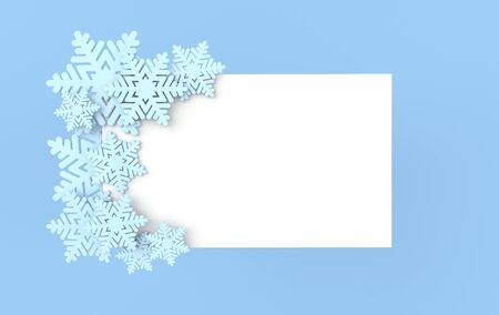 Christmas background with blue snowflakes. Xmas and new year greeting card 3d render illustration with white paper on blue background. Stockfoto